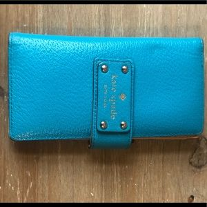 Kate Spade - Like new blue leather textured wallet